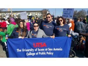 group photo of PASO members marching at MLK march