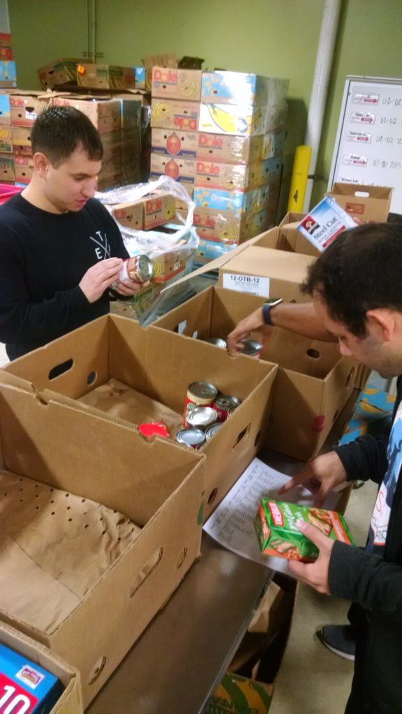 students in food bank