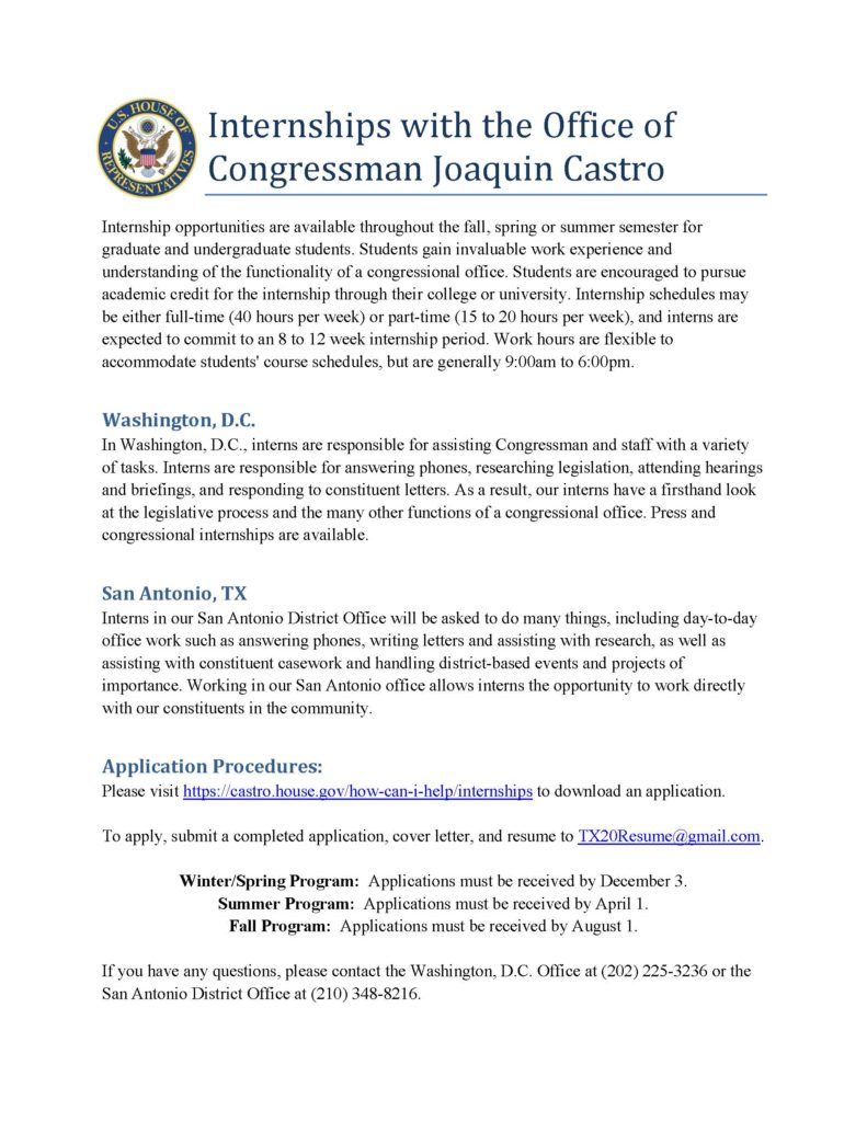 internship with Congressman Castro