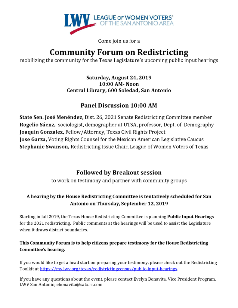 Redistricting forum