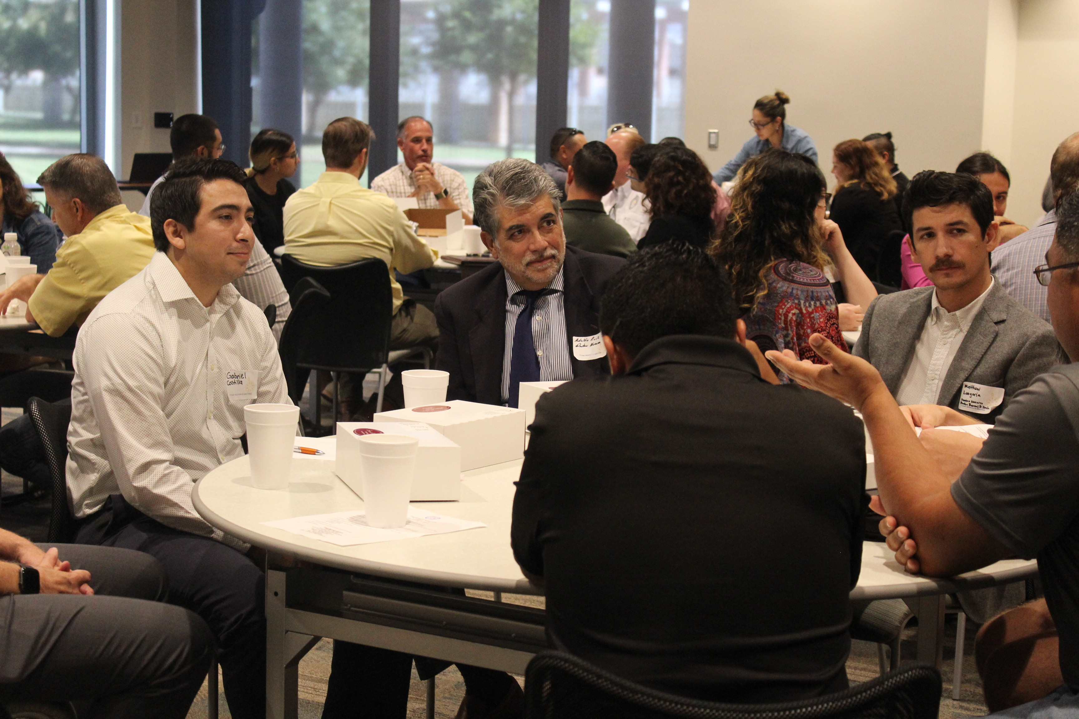 Students in roundtable discussions